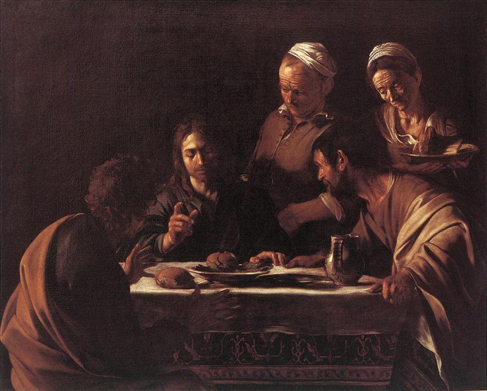 Caravaggio Cena in Emmaus, tela, 141x175, Milano, Pinacoteca di Brera
